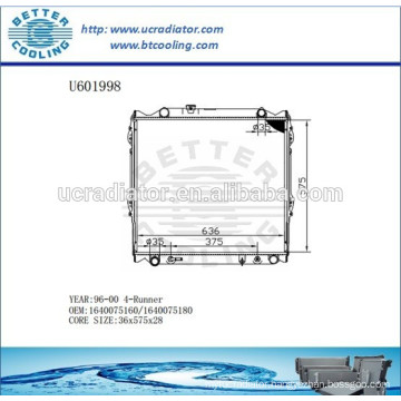 Radiator For TOYOTA 4-RUNNER 96-00 1640075160/1640075180 Manufacturer and Direct Sale