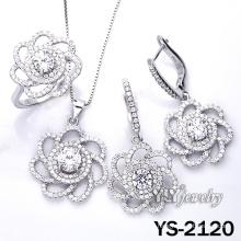Micro pavimenta la joyería de la flor de la plata esterlina 925 fijada (YS-2120)
