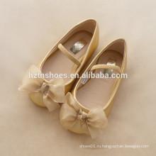 Девушки балет плоский шифон материал лук платье обувь мягкая единственная школьная обувь дети