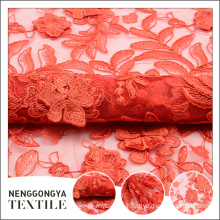 High end professional tape floral embroidery red african lace fabric