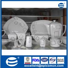 86pcs dining set square shape new bone china dinnerware for table