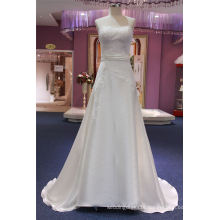 Strapless Lace Satin A Line Evening Prom Party Bridal Wedding Dresses