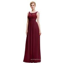 Starzz 2016 Cheap Simple Sleeveless V back Long Chiffon Wine Red Prom Dress ST000061-2