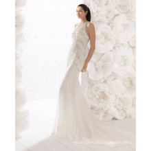 Round Neck Heavy Crystal Beading Lace Sequins Mermaid Wedding Dress