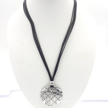 Engraved Stainless Steel Fashion Jewelry Wax Rope Necklace