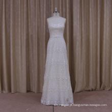 Luxo frisado vestido de noiva a linha com Trian destacável