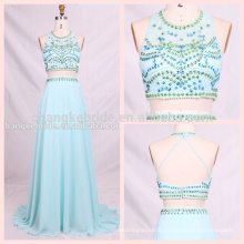 2017 Halter Beaded Long Party Dress 2 Piece Strapless Prom Dress