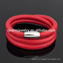 Le bracelet en cuir de charme sexy en 2016 avec fermoir en or rose en acier inoxydable pour filles SW-LB014