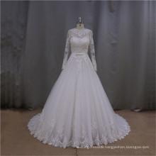 LAN002 High quality muslim nighties wedding dress with illusion sleeve