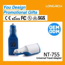 Prateleira inteligente USB VIP Blue 5v 2.4a carregador de carro, mini ac dc 2.1a carregador multi carro