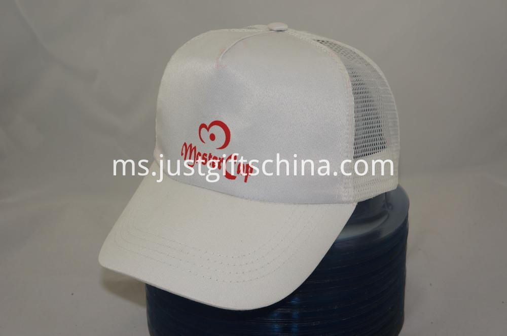 Promotional Imprinted Polyester Cap w Mesh Back and Plastic Buckle