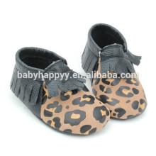 Sapatos casuais para meninos de couro infantil para BEBÊ com sola macia