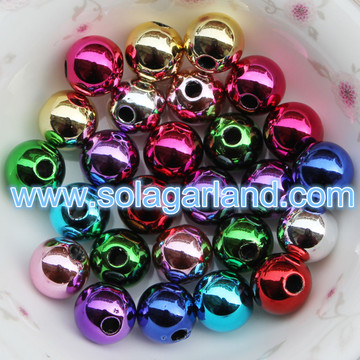 8-20MM Acrylic Round Shiny Metallic Finised Beads Spacer Chunky Bubblegum Beads