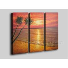 Pintura al óleo pintada a mano del paisaje de la playa del 100% en el arte de la lona (SE-205)