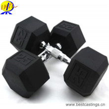 High Quality Rubber Coated Cast Iron Hex Dumbbell