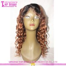 Фабрики Китая Циндао 100% бразильского Виргинские Remy человеческих волос glueless два цветовых тона 1b/30 парик шнурка