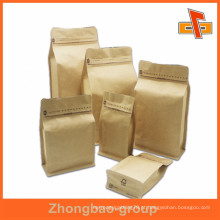 Bolsa de papel kraft de fundo plano Biogradable para embalagem de café ou alimentos com zíper