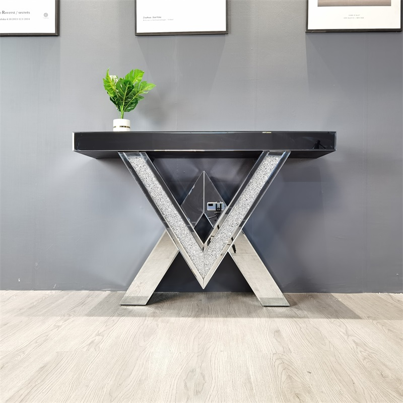 V shape glass mirrored console table MDF table