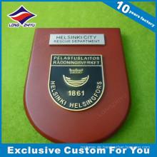 Emaille-goldene hölzerne Plakette mit lustigem Logo