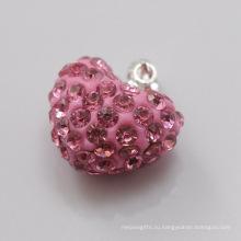 Подарок ювелирных изделий способа Shamballa привесной оптовый новый привес 15MM сердца формы сердца кристаллический кристаллический для ювелирных изделий DIY