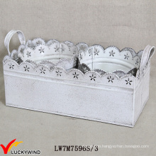 Metal Sheet Vintage White Round Flower Arrangements Pot with Rectangle Tray