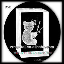 K9 3D Subsurface Etched Panda Inside Crystal Rectangle