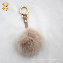 Abnehmbare billige handgefertigte echte Kaninchen Pelz Ball Schlüsselring