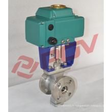 DIN eau on / off ac110v bride électrique class150lb robinet à tournant sphérique v type