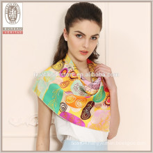 Colorful cute trees own design ladies silk neck scarf