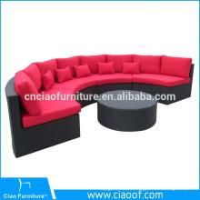 Synthetic wicker outdoor furniture leisure half round garden rattan sofa