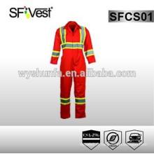 Combinaisons de vêtements de sécurité réfléchissantes, combinaisons orange, poly-coton conformes à la norme CSA Z96-09