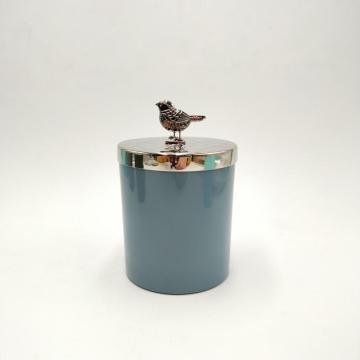 Kundenspezifischer Glaskerzenbehälter mit Metalldeckel