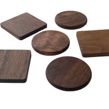Base para copos de madeira maciça de nogueira preta