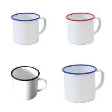 5/6/7/8/9/10/11 / 12mm Taza de café blanca del té del esmalte que acampa comida campestre