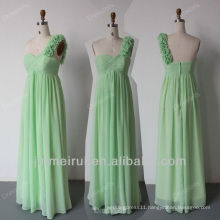 One Shoulder Bridesmaid Dress Mint Green Floor Length Chiffon Free Shipping HDQ6