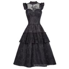 Belle Poque Retro Vintage Cap Sleeve High-Neck Sheer Bodice Black Lace Swing Dress BP000380-1