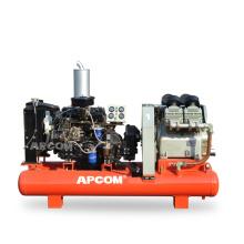 APCOM 45hp 35kw diesel engine air compressor 45 hp 35 kw portable screw air compressor Air Compressor with 230L tank