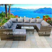 Sofá de mimbre de jardín seccional Set Mobiliario exterior de ratán