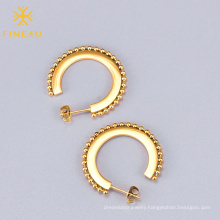 Simple fashion women jewelry round beads stainless steel 18k gold plated earrings