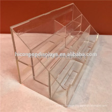 Trade Show Table Top Display 2-Layer 6 Pockets Small Clear Acrylic Business Card Name Card Holder