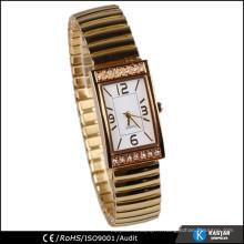 Rectangle diamant étui montre doré