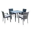 A mobília de jantar exterior de 4 seater ajusta a madeira plástica da inserção da tabela