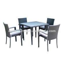 Meubles de salle à manger en plein air 4 places ensembles de table en plastique en bois