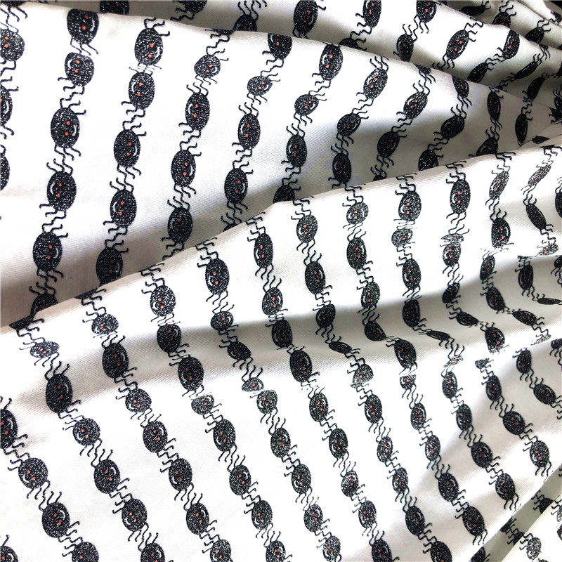 White Cotton jersey with Silver spider Print