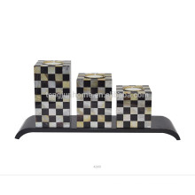 high quality mosaic candle holder with pen shell and golden MOP