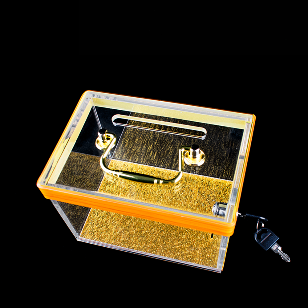 Luxury Golden Bottom Acrylic Tip Box With Lock