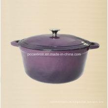 Aubergine Emaille Gusseisen Holländischer Ofen mit Edelstahlknopf