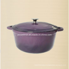 Aubergine Enamel Cast Iron Dutch Oven with Stainless Steel Knob