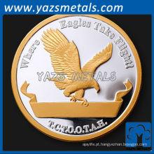 Fabricação de desafio personalizado ouro prata metal moeda