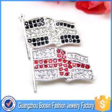 High Quality Custom Made Rhinestones Metal Flag Brooch Pin